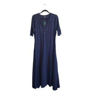 Lauren Ralph Lauren Waffle Knit Ribbed Henley Neck Cotton Midi Dress